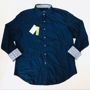 Robert Graham Button Down Shirt Men Blue Geometric